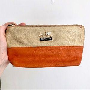 Gold and orange clutch/wristlet